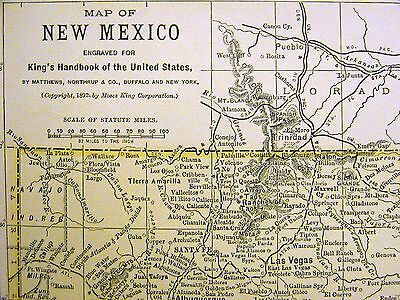 Map of NEW MEXICO from the King's Handbook of the United States 1892 Matted