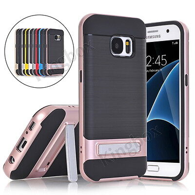 HIGH PRO SHIELD Brushed Hybrid Case Cover Alloy Kickstand for Samsung S6 S7 S8