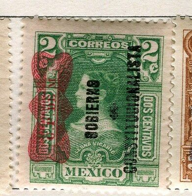 MEXICO;  1916 early GPDEM Silver Currency Optd. on 2c. Mint hinged