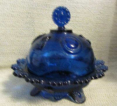 """RaRe..IMPERIAL GLASS.. 7"""" DIA DOME COBALT BLUE BUTTER DISH MARKED IG"""