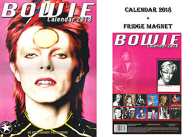 David Bowie Calendar 2018 + David Bowie Fridge Magnet