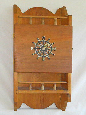 Vintage Wood  Ship Wheel Wall Clock Shelf Rustic Cabinet Chest Marine Nautical