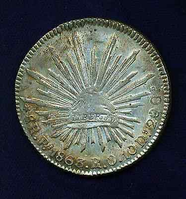 MEXICO SAN LUIS POTOSI MINT 1863-PiRO 8 REALES, ALMOST UNCIRCULATED