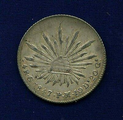MEXICO  GUANAJUATO MINT  1847-GoPM  4 REALES SILVER COIN, XF/ALMOST UNCIRCULATED