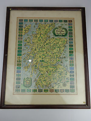 The Story Map of Scotland, by Colortext Publications, 1939 Chicago, Framed