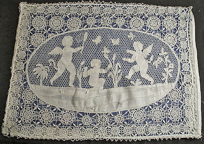 Charming Antique Figural Cherubs Needlelace + Reticella Lace Boudoir Pillow