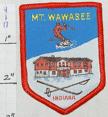INDIANA, MT. MOUNT WAWASEE SKI AREA, NEW PARIS WOVEN VINTAGE 1960's ERA PATCH