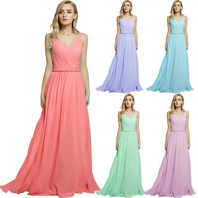 New Long Formal Evening Cocktail Party Dress Bridesmaid Ball Gown Prom Size 6-22