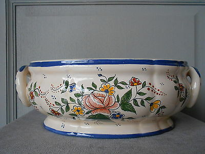 Vintage French CERAMIC LARGE PLANTER JARDINIERE CENTER PIECE with fine flowers