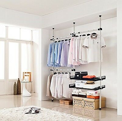 """Movable Floor to Ceiling Clothes Rack Adjusts up to 160""""H x 120""""W  Wardrobe"""