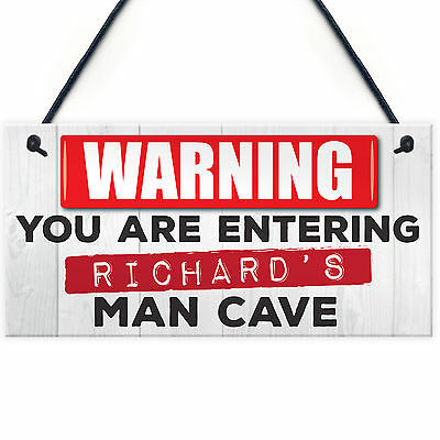 Personalised Warning Man Cave Hanging Plaque Shed Pub Bar Sign FATHERS DAY GIFT