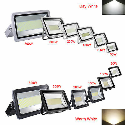 100/200/300/500W LED Floodlight High Power Day Warm White Outdoor Security Light