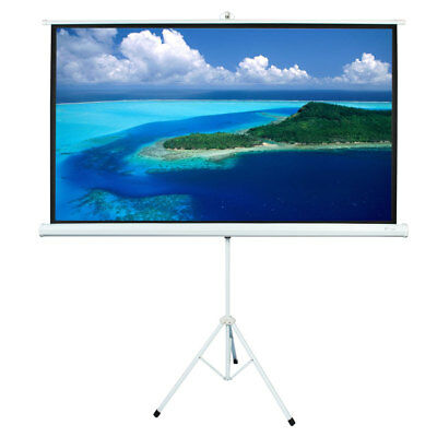 """84"""" Diagonal Motorized Projection Screen HD Movie Projector White 16:9 HD Format"""