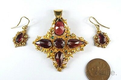 ANTIQUE ENGLISH LATE GEORGIAN 15K GOLD GARNET PENDANT & EARRINGS SET c1820