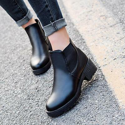 Women Black Synthetic Leather Ankle Boots Chelsea Chunky Block Heel Slip Shoes