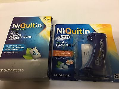 Niquitin PARCEL Fresh Mint 4mg Medicated GUM PLUS 4 MG MINT LOZENGERS