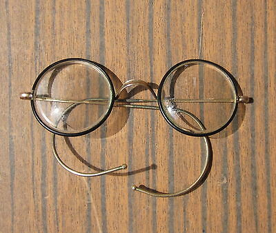 Antique Edwardian Spectacles Glasses Eyeglasses - Celluloid & Gold Plated Frame