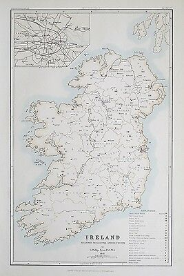 1881 IRELAND Dublin To Illustrate the Educational Condition of the People Map