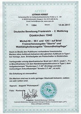 Bes. II. WK - Dünkirchen Nr. 56 I + 126 I Brief Attest VPP Mi. 1800,- (49088