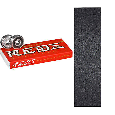 Bones Super Reds Skateboard Bearings + Mob Griptape Grip Sheet