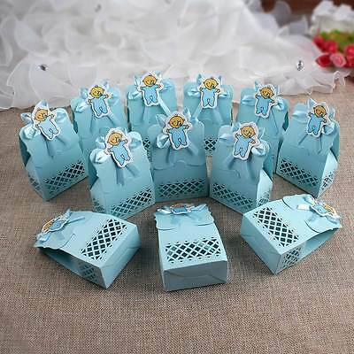 12PCS Laser Cut Baby Shower Gift Favor Boy 1st Birthday Party Sweet Candy Boxes