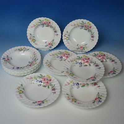 Royal Doulton China - Arcadia H4802 - 12 Flat Rim Soup Bowls - 8 inches