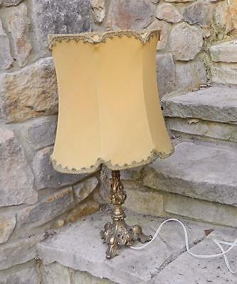 VINTAGE Art Deco Carved Brass Lamp with Retro Shade