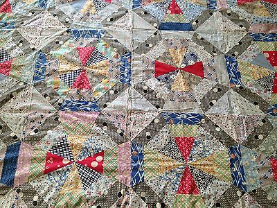 """Vintage Quilt Top In Pure Cotton From USA 6 foot 4.5"""" Square Stunning"""