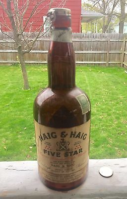 Antique Whiskey 2 Paper Labels Haig & Haig 5 Star Org. Snap Lid