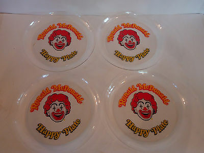 "Vintage set of 4 RONALD MCDONALD Happy Plate Plastic 9"" Lot Meal"