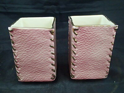 Set Lot Of 2 Vintage 1940's Mid Century Pink Planters Stitched Corners USA 885