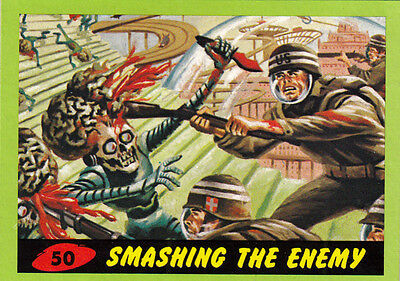 2012 Topps Mars Attacks Heritage Green Border Card #50 Smashing The Enemy