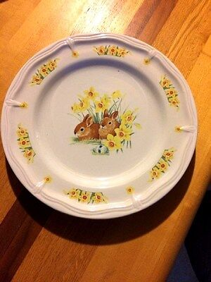 """Domestications Easter BUNNY RABBIT 12-3/8"""" Chop Plate/Round Platter"""