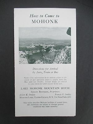 HOW TO COME TO MOHONK, Directions for Arrival by Auto, Train or Bus, 1949