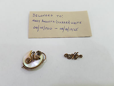 Antique Lot Of 2 Gold Filled Pendant Brooch Augusta Vickery - Letter M  - 5635