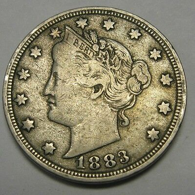 1883 No Cents Liberty V Nickel Grading in the FINE to VF Range DUTCH AUCTION