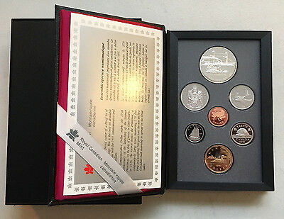 """1991 Royal Canadian Mint Proof Set """"w/ Silver-Dollar"""" 7 Coins (28418)"""