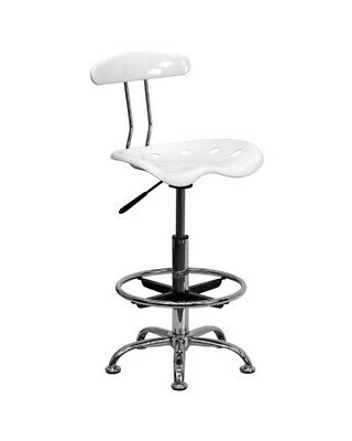 Flash Furniture LF-215-WHITE-GG Vibrant White Chrome Drafting Stool Tractor Seat
