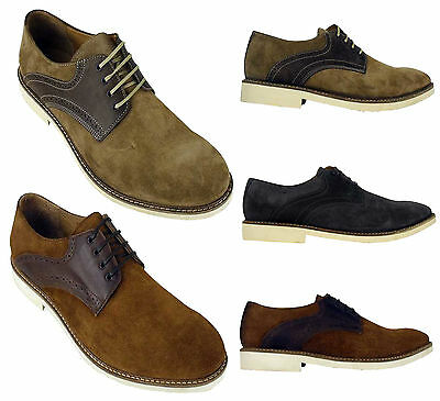 MENS H BY Hudson Kanter Suede Leather Brogues Shoe Derby