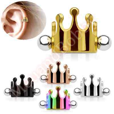 16G Crown Helix Cartliage Ear Piercing Cuff Barbell Body Jewellery