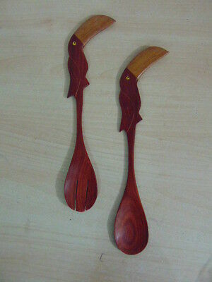 Mid Century Teak Carved Toucan Salad Serving Wood Spoons RARE Mint Condition