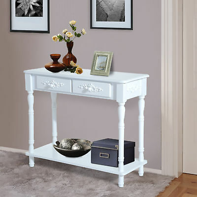 Console Table Entryway Dressing Furniture 2 Drawer Kitchen Hall Table White