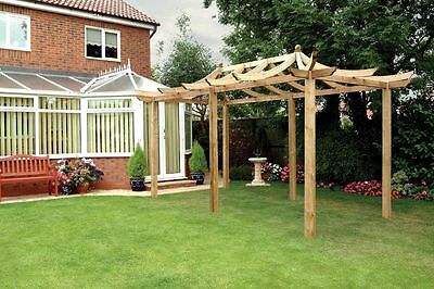 Grange Wooden Dragon Extended Pergola with Long Posts - 9 x 16ft. From Argos