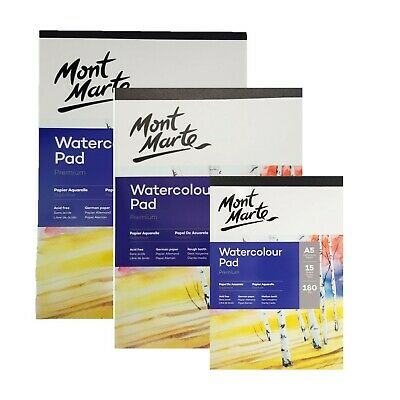 1pce Mont Marte Watercolour Pad 180gsm German Paper 15 Sheets, A3 A4 A5