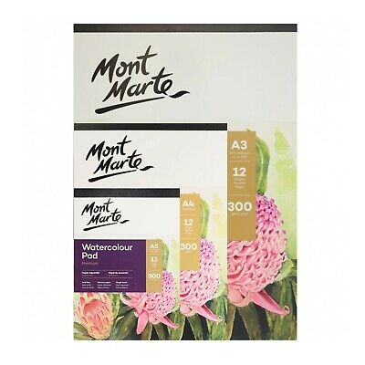 1pce Mont Marte Watercolour Pad 300gsm German Paper 12 Sheets, A3 A4 A5