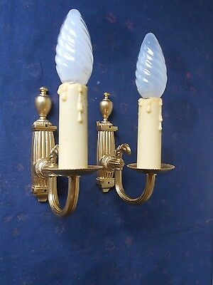 PAIR of old FRENCH brass Wall LIGHT SCONCES