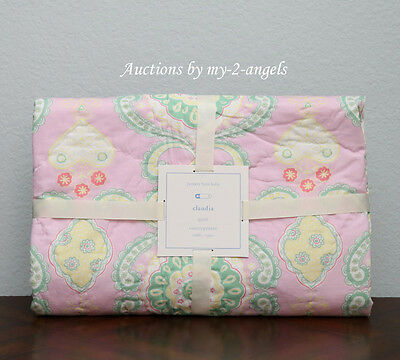 NEW Pottery Barn Kids CLAUDIA MEDALLION Moroccan Crib Quilt BRIGHT GREEN / PINK