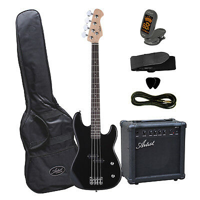 Artist PB2 Black Electric Bass Guitar with Accessories  + Amplifier - New