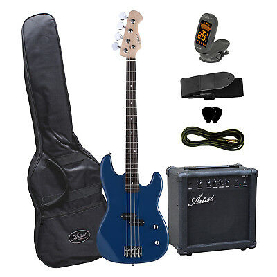 Artist PB2 Blue Electric Bass Guitar with Accessories  + Amplifier - New