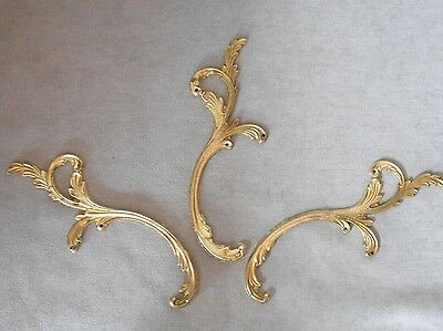 3 Vintage french solid BRASS PLATES PLAQUES PEDIMENTS